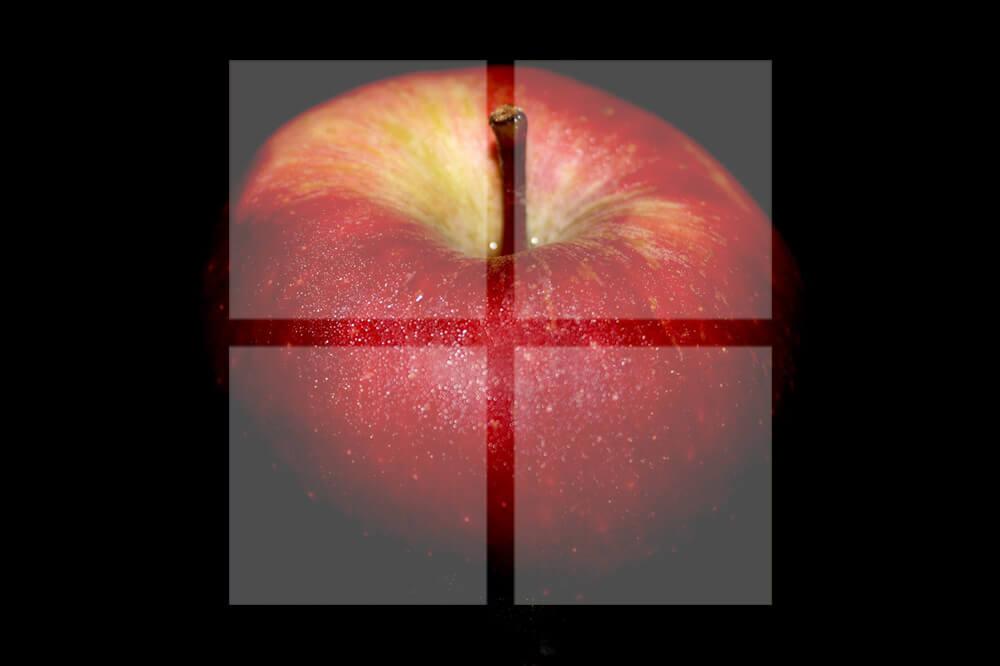 りんごと窓の形が重なった画像